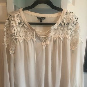 Off white embroidered tie up blouse